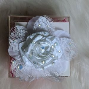 Tarina Tarantino flowers pin mini white lace weddi